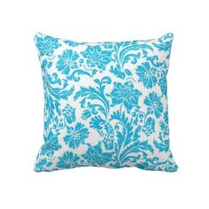 Vibrant Turquoise Damask  Beautiful vibrant turquoise blue damask throw pillow from American MoJo for that perfect finishing touch to any room.