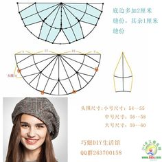 how to make a newsboy cap - Her Crochet Hat Patterns To Sew, Sewing Patterns, Hat Tutorial, Diy Hat, Fascinator Hats, Pattern Drafting, Hat Making, Sewing Clothes, Dressmaking