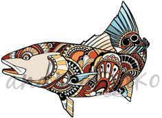 Redfish Zentangle Laminated 3M Vinyl Decal
