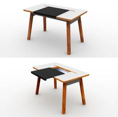 A desk with a sliding lid that allows all your equipment and excess cables to be stowed away in a neat storage compartment.