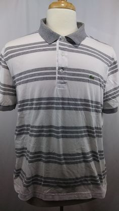 Lacoste Men's White and Grey striped golf Polo shirt short sleeve size 6 / Large | Clothing, Shoes & Accessories, Men's Clothing, Casual Shirts | eBay!