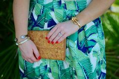 Palm Print skirt + cork clutch +thirtyone