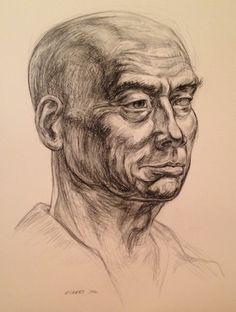 Bill Eckert, charcoal portrait of George Charcoal Portraits, Faces