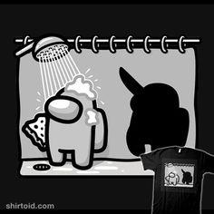 Psycho Impostor!   Shirtoid #amongus #gaming #impostor #psycho #raffiti #shower #videogame