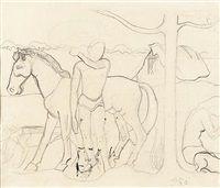 Homme et cheval dans un paysage, par Paul Gauguin