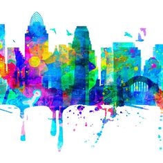 Cincinnati Skyline Cincinnati Watercolor Map Art Cincinnati Print Wall... ($39) ❤ liked on Polyvore featuring home, home decor, wall art, black, home & living, home décor, wall decals & murals, wall décor, black and white posters and map poster