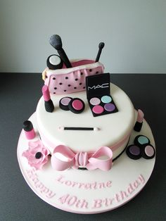 40th birthday cosmetics cake in pink and black