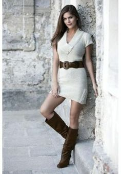 Cute Dress with Boots <3 #dress #boots #outfit