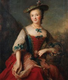 Portrait of a lady holding a flower basket, circa mid century by Marianne Loir 18th Century Dress, 18th Century Clothing, 18th Century Fashion, 17th Century, Rococo Fashion, Marianne, Vintage Artwork, Flower Basket, Historical Clothing