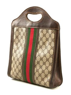 feaad7536934 View this item and discover similar tote bags for sale at - Brown cotton  monogram cabas bag from Gucci Vintage circa made in Italy