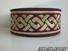 ~10m  BURGUNDY/GOLD JACQUARD RIBBON*CELTIC KNOT*35mm