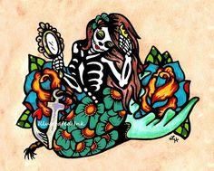 Day of the Dead MERMAID Dia de los Muertos Art Print 8 x 10. $15.50, via Etsy.