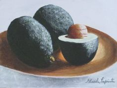 Two and a half avocados on a plate  Fruit or by Cloandgiz on Etsy