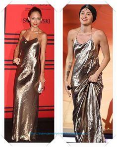 Un vestido de lame dorado de Marc Jacobs lo llevo primero Nicole Richie en los CFDA fashion awards; después lo llevo Miley Cyrus en X Factor
