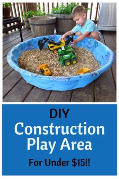 Looking for some inexpensive ways to keep your kids busy this summer? This DIY Construction Play Area can be easily created with items you probably already have around the house and provides hours of independent play! Kids Outdoor Play, Outdoor Play Spaces, Kids Play Area, Backyard For Kids, Outdoor Fun, Indoor Play, Backyard Play Areas, Outdoor Toys For Toddlers, Backyard Games