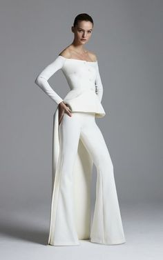 Get inspired and discover Safiyaa trunkshow! Shop the latest Safiyaa collection at Moda Operandi. Safiyaa, Bridal Jumpsuit, Long Sleeve Gown, Boat Neck Dress, Silk Gown, Asymmetrical Tops, Elegant Outfit, White Fashion, Dame
