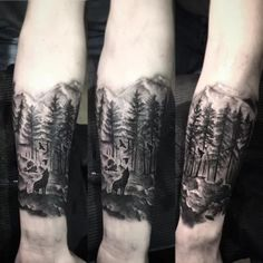 100 Forest Tattoo Designs For Men - Masculine Tree Ink Ideas Mens Landscape Forest Inner Forearm Tattoo Designs Wolf Tattoos, Forarm Tattoos, Leg Tattoos, Body Art Tattoos, Sleeve Tattoos, Flower Tattoos, Mens Forearm Tattoos, Sailor Tattoos, Arabic Tattoos