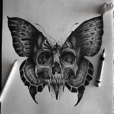 Skull Butterfly Tattoo, Skull Rose Tattoos, Evil Tattoos, Butterfly Tattoos For Women, Moth Tattoo, Skull Tattoo Design, Tattoo Design Drawings, Dope Tattoos, Art Drawings Sketches