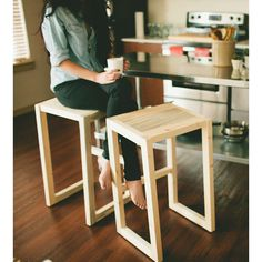 Easy to make wooden stools // credit: Cameron Pine Bar Stool by The Azure Furniture Co. on Scoutmob Shoppe Diy Bar Stools, Diy Stool, Wood Stool, Kitchen Stools, Counter Stools, Pine Wood Furniture, Bar Furniture, Pallet Furniture, Furniture Making