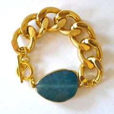 Chunky Gold Chain Link Bracelet With Polished Turquoise Blue Agate