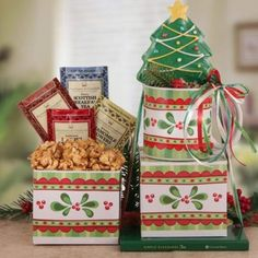 #Simply #Christmas #Cheer This #Christmastree tower gift is a #perfectholidaygift choice for neighbors, co-workers and friends across the country. A very festive holiday ceramic mug grabs your attention as it comes filled with a tower of #goodies. You may customize this gift to fit a multiple of people as you can select from a tea or #coffee!