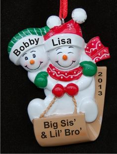 Joyful Sled Big Sister Little Brother Christmas Ornament Personalized