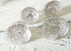 Vintage Glass Drawer Pulls, all different styles in clear glass.