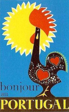Bonjour au Portugal by Vespeira, 1959 Vintage Advertisements, Vintage Ads, Retro Ads, Party Vintage, Portuguese Culture, Art Deco, Old Ads, Illustrations, Vintage Travel Posters