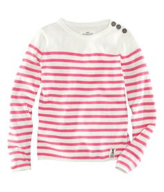 H Fine-knit striped sweater with buttons on one shoulder and rolled edges.