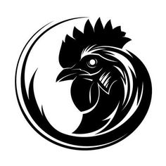 Illustration of Rooster circle tribal tattoo art vector art, clipart and stock vectors. Rooster Tattoo, Rooster Logo, Rooster Art, Black Rooster, Chicken Tattoo, Chicken Logo, Chicken Art, Tribal Tattoos, Tribal Tattoo Designs
