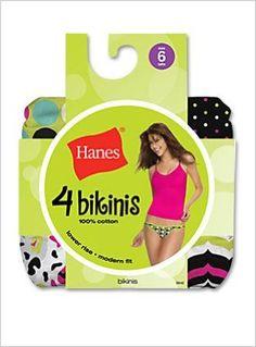Hanes Womens 100% Cotton Fashion String Bikini 4 Pack, 5-Assorted Darks Hanes. $7.82