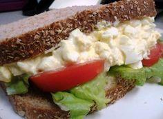 deviled egg salad sandwich- serve on Ezekiel Bread! Egg Salad Sandwiches, Wrap Sandwiches, Sandwich Recipes, Appetizer Recipes, Appetizers, Deviled Egg Salad, Deviled Eggs Recipe, Low Budget Meals, Budget Recipes