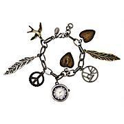 Decree® Feather Charm Bracelet Watch