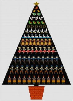 The 12 Days of Christmas in a tree design ready to stitch up for the holidays. Quick and easy to stitch.    You will need Adobe Reader to open your pdf