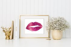 Watercolor Lip Print / Pink and White / Fashion by MadKittyMedia