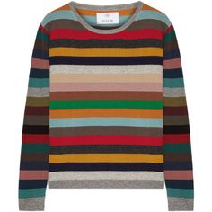 Allude Striped cashmere sweater ($405) ❤ liked on Polyvore featuring tops, sweaters, red, loose tops, multicolor striped sweater, pure cashmere sweaters, striped cashmere sweater and colorful sweaters