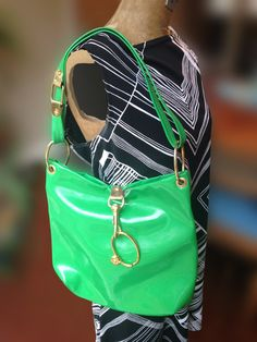 Green Mod Vinyl Handbag Vintage Seventies made in by SpaceModyssey