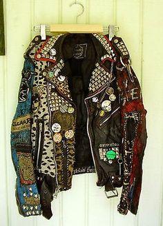 punk rock leather jacket in Clothing, Shoes & Accessories, Vintage, Men's Vintage Clothing | eBay Punk Outfits, Cool Outfits, Diy Leather Jacket, Custom Leather Jackets, Punk Clothes, Diy Clothes, Fashion Men, Punk Fashion, Grunge Fashion
