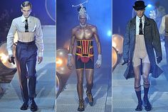These photos are from John Gilliano's collection. This shows that today, although not as popular men still like a bit of support and control under their clothing. This shows an example of the male corset. Fetish Fashion, High Fashion, Mens Fashion, John Galliano, Moda Paris, Midsummer Nights Dream, Fifty Shades Of Grey, Men Looks, Feminine