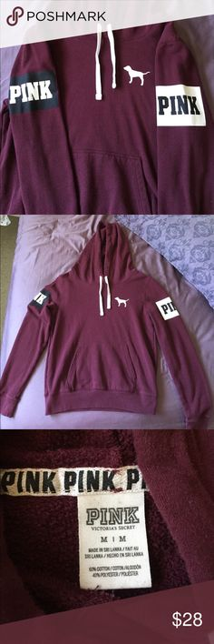 PINK VS Maroon Hoodie Maroon PINK Victoria's Secret Hoodie with front pocket. size Medium. Preloved condition, has peeling and a minor (hardly noticeable) mark on one of the hood strings as shown in last pic. No trades. No holds. Will be posting a lot more soon PINK Victoria's Secret Sweaters