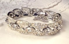 TRUE Vintage Art Deco Clear Pave Rhinestone Wide Link Flapper Bracelet, Silver Great Gatsby 1920s Downton Abbey Bridal Statement Jewelry by AmoreTreasure