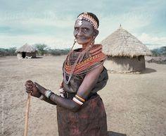 Portrait of senior Samburu Tribeswoman. by Hugh Sitton - Stocksy United Kenya, Captain Hat, African, Portraits, The Unit, Culture, Stock Photos, People, Photography