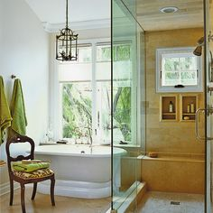Clear shower doors can double the visual room size  and windows can add in lots of light.
