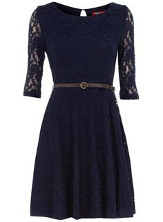 Navy Lace Dress - appropriate for an evening out, office formal wear or a dressy day on a chilly day with an overcoat to keep u warm.