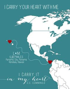 CUSTOM Long distance relationship love world map print with miles military or anniversary gift Hawaii. $32.00, via Etsy.