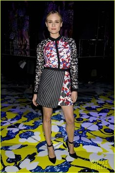 Diane Kruger wearing Peter Pilotto for Target Long Sleeve Woven Shirt in Red Floral