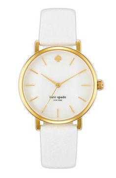 kate spade new york 'metro' round leather strap watch, 34mm |