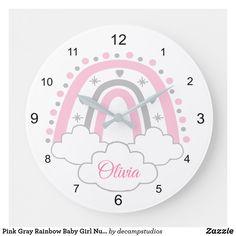 Baby Nursery Decor, Girl Nursery, Large Clock, Rainbow Baby, Pink Grey, Artwork, Prints, Clocks, Handmade
