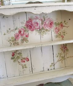 Custom Color and Decorative Shabby Chic Large Vintage Style Roses Shelf - Debi Coules Romantic Art