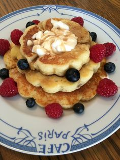 I got the tower pancake molds from Williams-Sonoma. I used the pancake recipe that came on the box. It was buttermilk heavy, but really good! My husband topped his with whipped cream, maple syrup, and fresh berries.